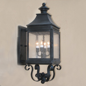 Customlightstyles Wall mount lantern with rectangular back-plate and scrolled base detail. BPS1110-1114