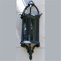 Custom exterior 3-sided wall lantern with castings for Atherton, CA by customlightstyles