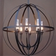 Custom interior created orb chandelier for Napa, CA by customlightstyles