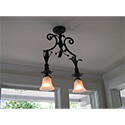 Custom hand fabricated double pendant for Occidental, CA by customlightstyles