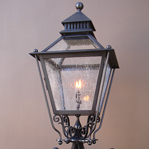 Custom, made-to-order, pier column mount lantern for Hillsborough, CA by customlightstyles